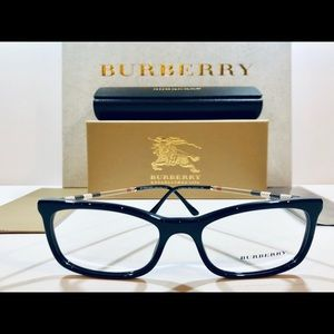 Burberry Eyeglasses Frame Shiny Black w/ Plaid New